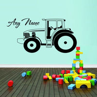 ZN Car Tractor Vinyl Wall Sticker Personalized Custom Name For Boy Home Living Room Kids Room