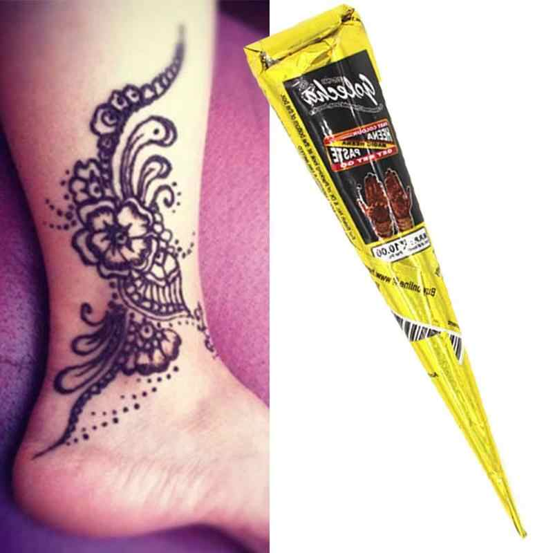 Henna Cones Indian Henna Tattoo Paste Black Brown Red White Henna Cones For Temporary Tattoo Body Art Sticker Mehndi Body Paint