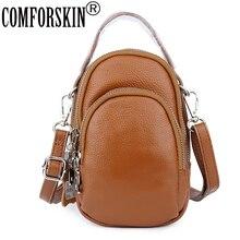 цена COMFORSKIN Premium 100% Genuine Leather Three Zipper Compartment Ladies Handbags European American Feminine Messenger Bags 2019