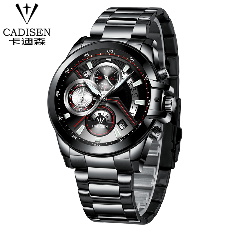 Cadisen Men Stainless Steel Business Quartz watch Multifunction Auto Date Military Sport Watches Male army Clock hours relogio цена и фото