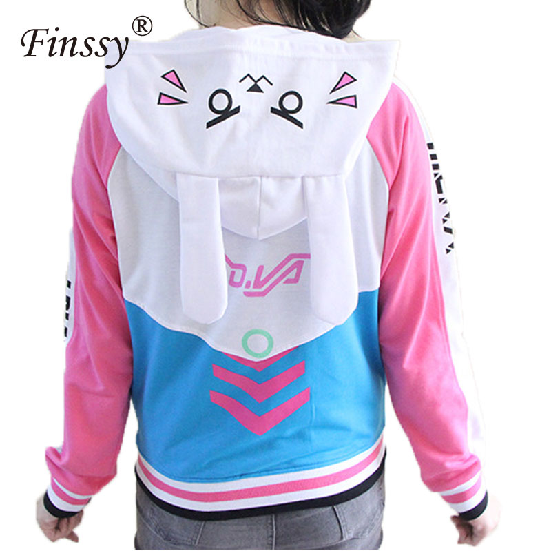 Anime Clothes Game DVa Hoodie Cosplay Costume D.Va Adult Baseball Coat D.Va Jacket feminino Cosplay thin Hoodies for Men Women