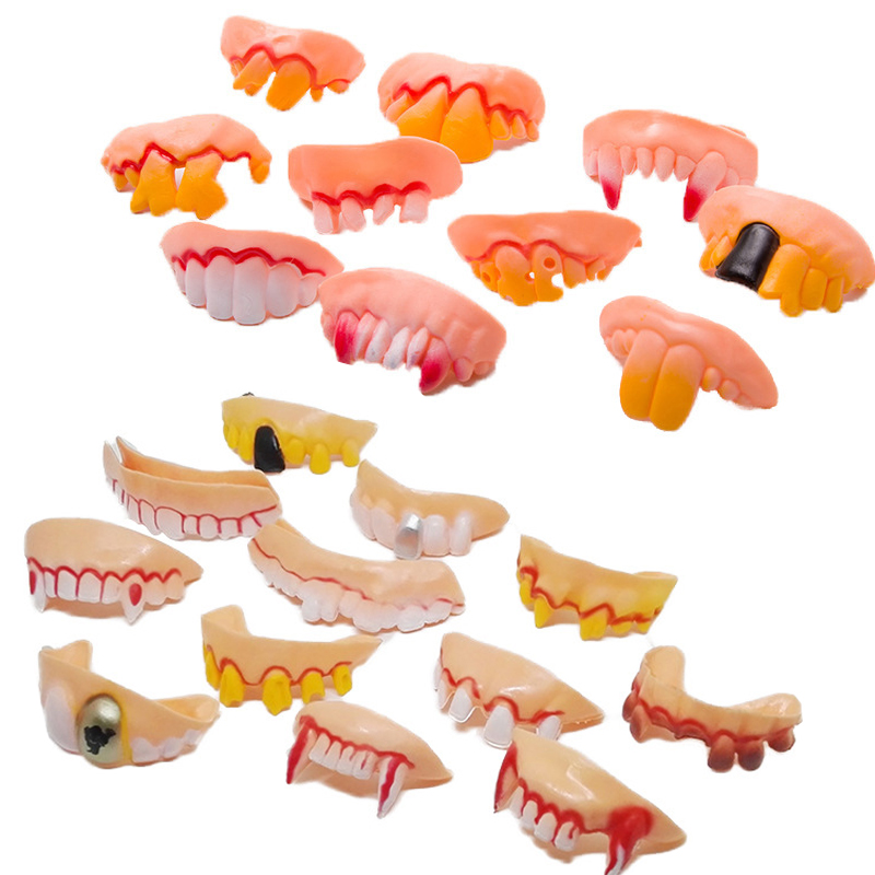 10pcs Lot Prank Startle Tooth Halloween Scary Crooked Monster Teeth Novelty Toy Children Adult Horror