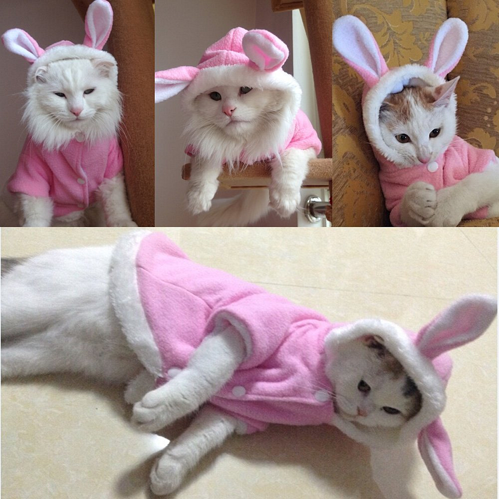 Rabbit Design Pet Clothes Winter Cat Clothes Cute Pet Clothing for Cats Hoodie Warm Pet jacket Sweater Christmas Costume 11d3S2