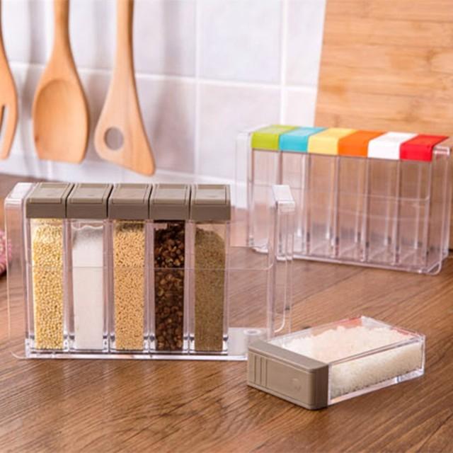 Kitchen Tools Transparent 6pcs/lot Plastic Spice Box  Spice Bottle for Containing Salt aginomoto Spice Jar Spice Storage Box