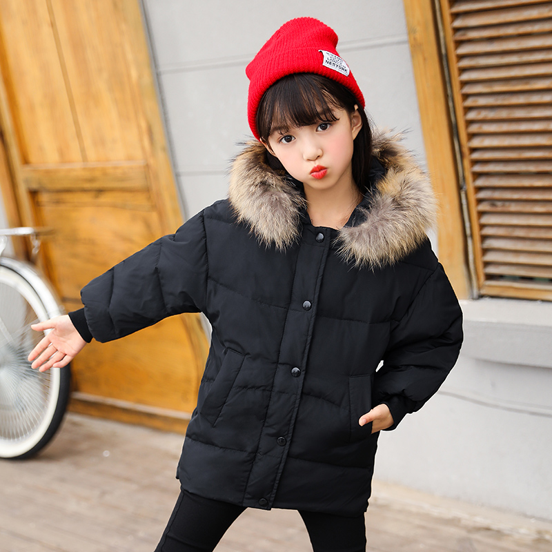 HSSCZL Girls Down Jacket winter Children 2017 Brand Thick Short hooded Fur collar Girl Down Jackets Baby Coat outerwear Solid mioigee girls fashion fur collar winter outerwear hooded thick children girls long duck down jacket coat high quality