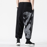 Personality Baggy Cotton Linen Harem Pants Men Wide Leg Trousers Stage Performance Casual Tai Chi Pants Cross Pants 4XL 5XL
