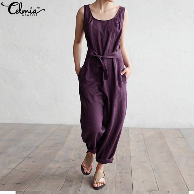 2019 Celmia Women Overalls Sleeveless Casual Loose Solid Cotton Linen   Jumpsuits   Long Trouser with Pockets Belt Plus Size Rompers