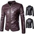 Primavera nuevas chaquetas de cuero chaquetas de la motocicleta del motorista de los hombres chaquetas hombres moda vintage casual hombres ropa de cuero de la pu delgada capa