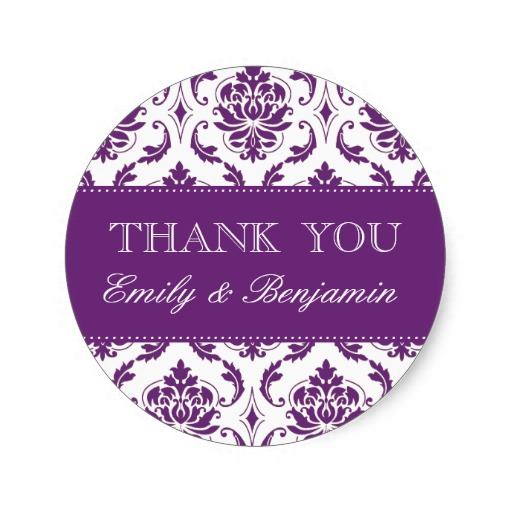 3 8cm wedding names purple damask thank you labels classic round