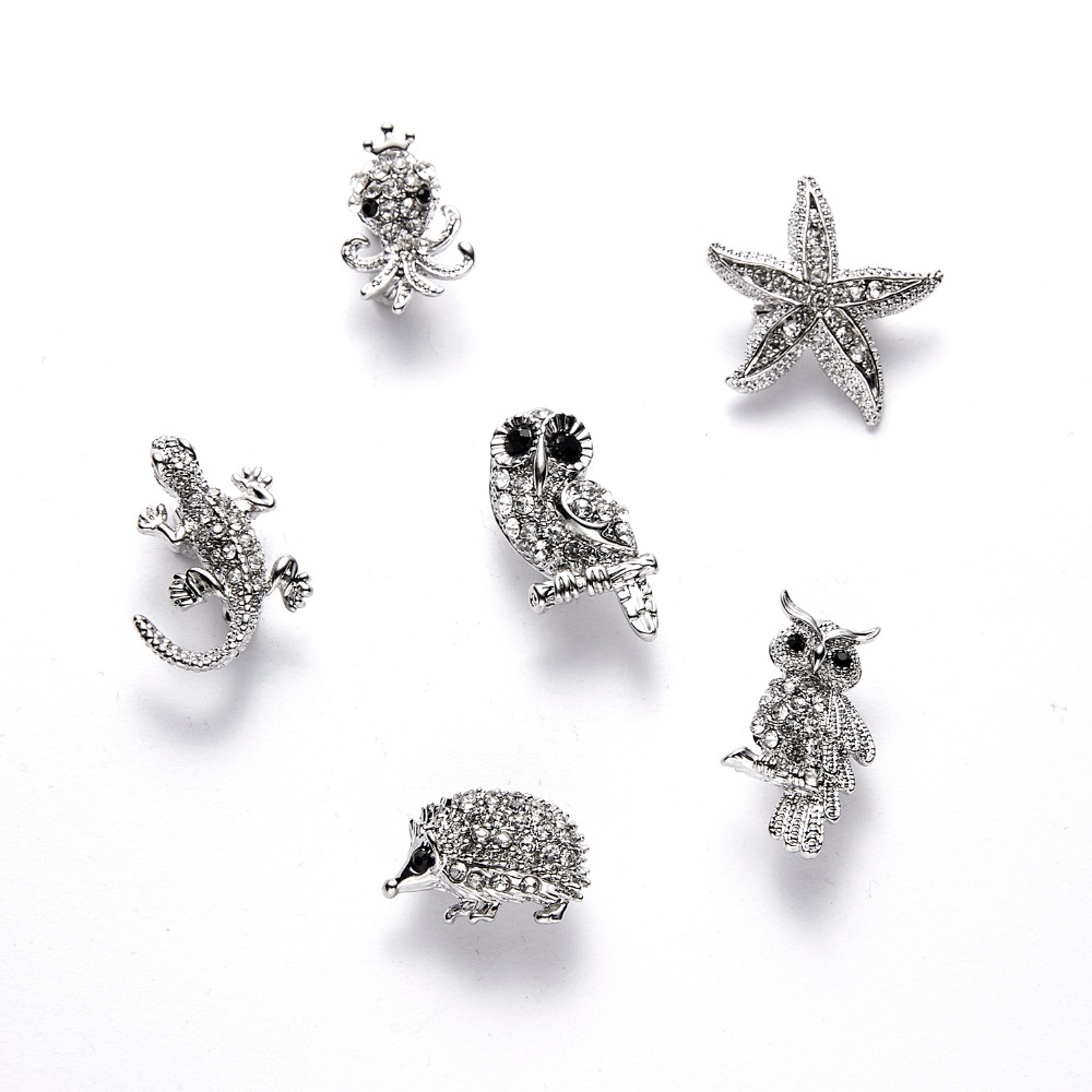 NUOMI 6 Pcs Ox Brooch Pins Cute Cartoon Animal Cow Shaped Brooches Glitter Rhinestone Charm Decorative Jewelry Accessories for Year The Ox Women//Girl 1.1 Inch