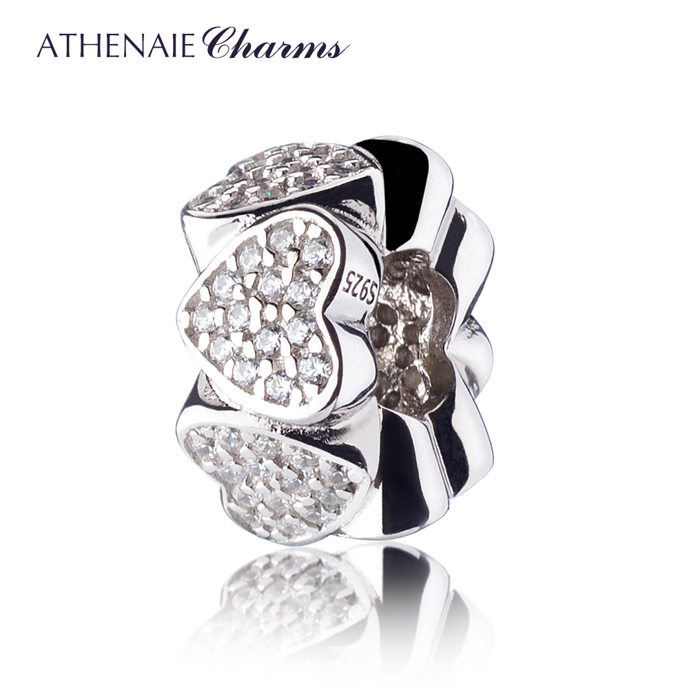 ATHENAIE Genuine 925 Silver with Pave Clear CZ Heart to Heart Spacer Silver Charms Bead Fit All European Bracelets Necklace crystal stovall with all josie s heart
