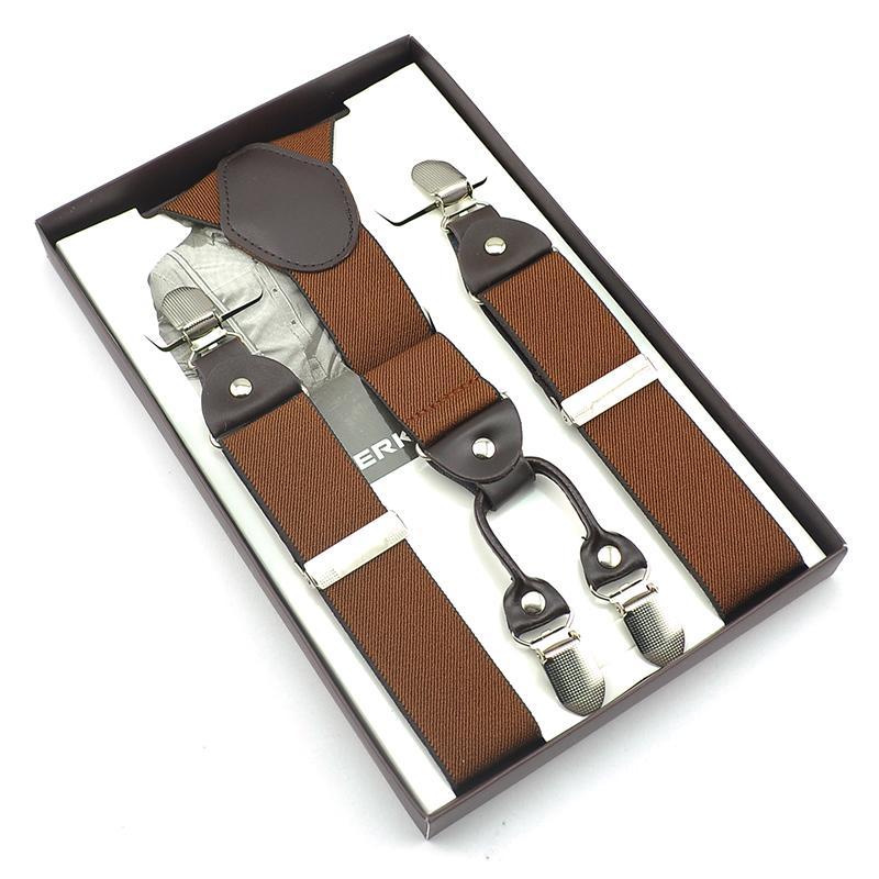 0d6ff056d2d Terbaru padat warna pria 4 Clip on Y - kembali Suspender elastis dengan  kotak kartu plastik untuk ayah teman hadiah hadir 7 warna kawat gigi