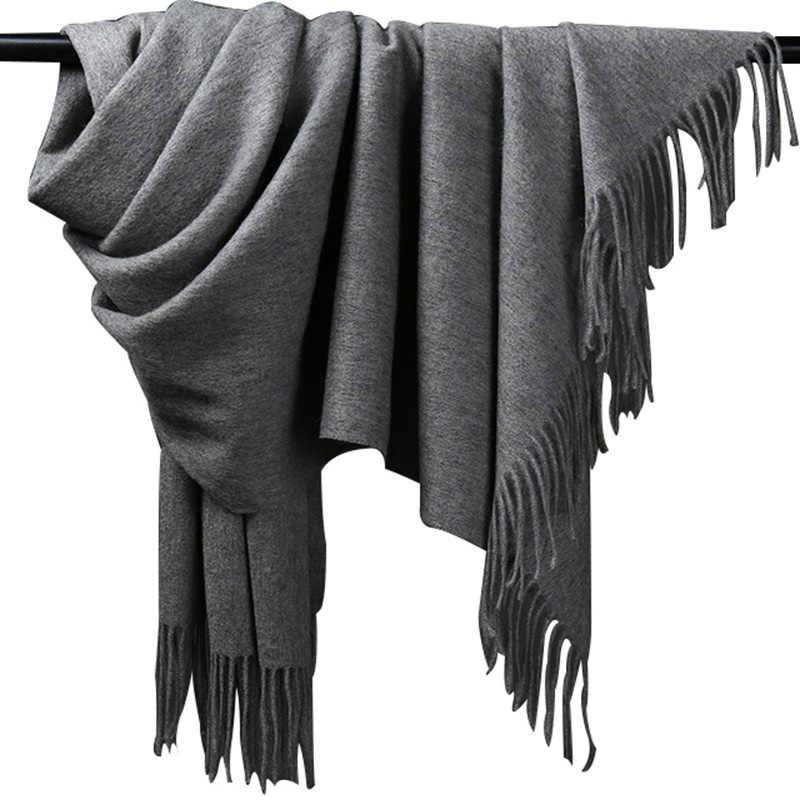 432b3eb3017 Толстые теплые искусственного кашемира серый Для мужчин шарф шерсть Для  женщин зимние Ponch кашемировые шарфы для