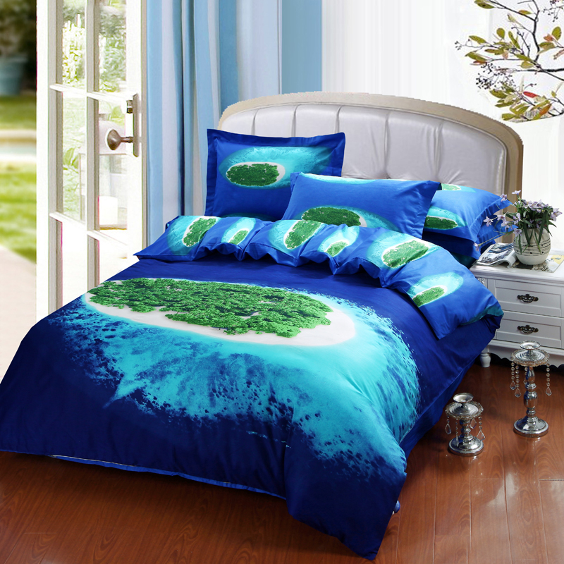 3d blue sea island bedding set queen size cotton bed sheet
