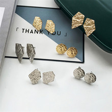 kshmir Metal earrings design geometry round multilateral Retro texture women fashion Gold and silver jewelry wholesale