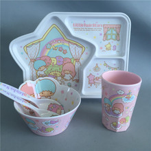 Melamine cartoon baby plate, bowl, forks and cup 4pcs/set