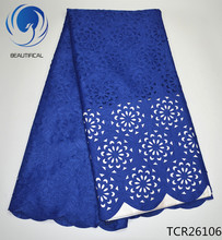 BEAUTIFICAL Blue eyelet cotton lace fabric 2017 New arrival Laser Cutting african swiss voile for dress 5yard TCR261