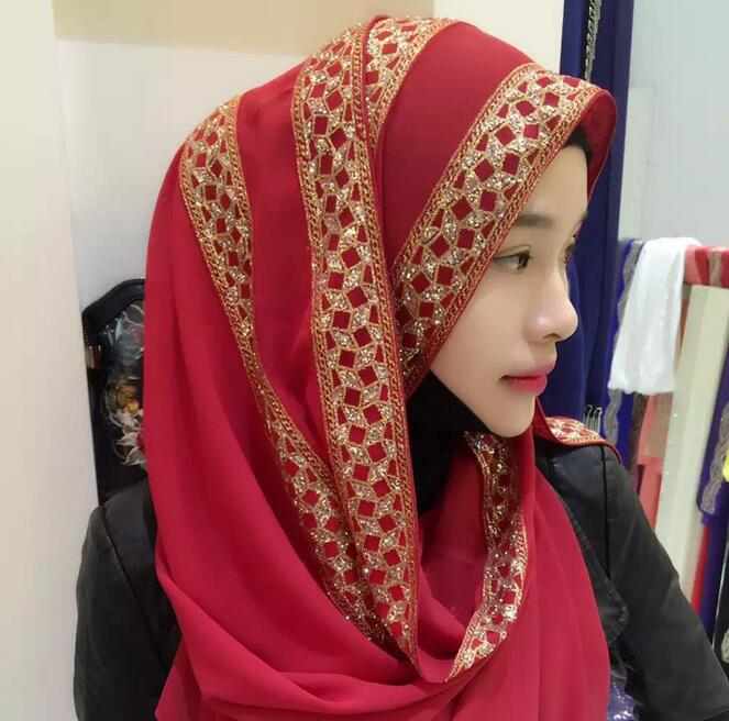 High quality women s glitter shimmer chiffon silk diamond floral plain shawls hijab muslim nice 12
