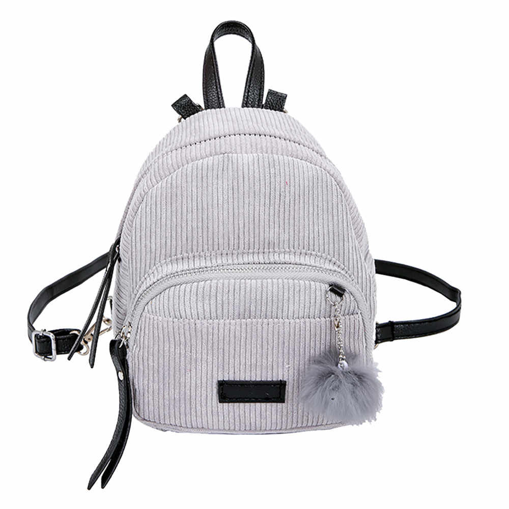 ae1c4e75a8e2 2018 New Fashion Backpack Girl Hairball Corduroy School Bag Student Backpack  Satchel Travel Shoulder Bags For