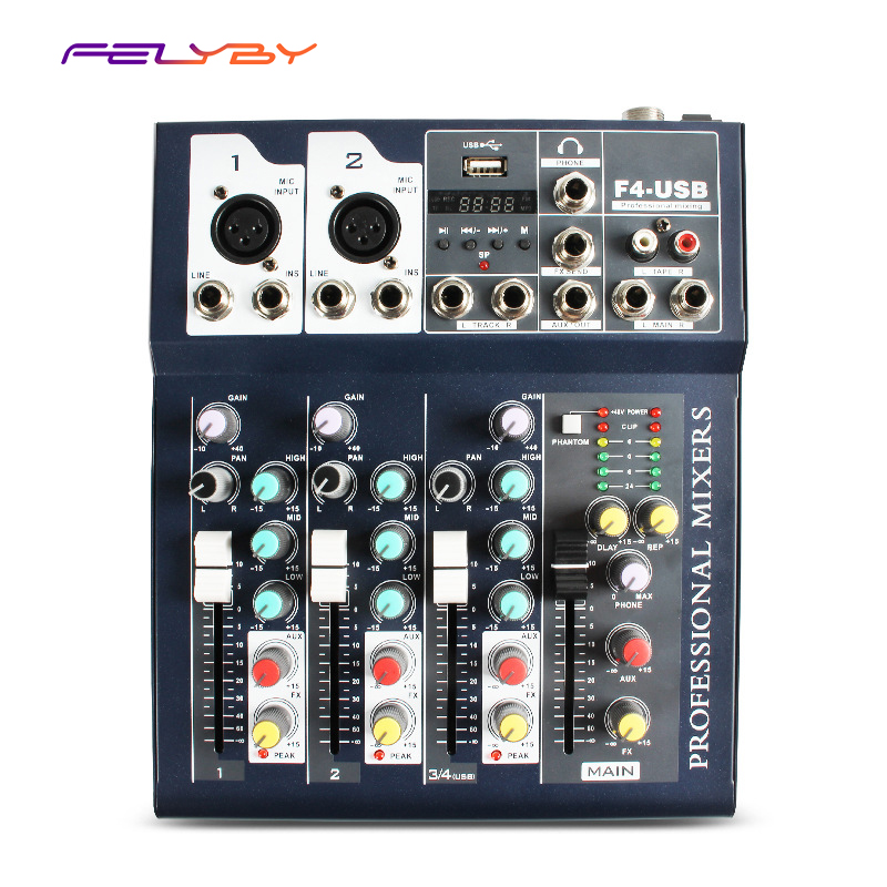 FELYBY Mini Portable Audio Mixer With USB Bluetooth DJ Sound Mixing Console MP3 Jack 4 Channel 48V Amplifier For Karaoke KTV