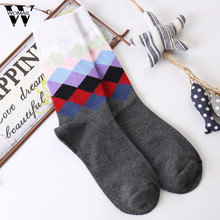 Brand Quality Mens Happy Socks Combed Cotton 10 colors Funny Socks Autumn Winter Crew Casual