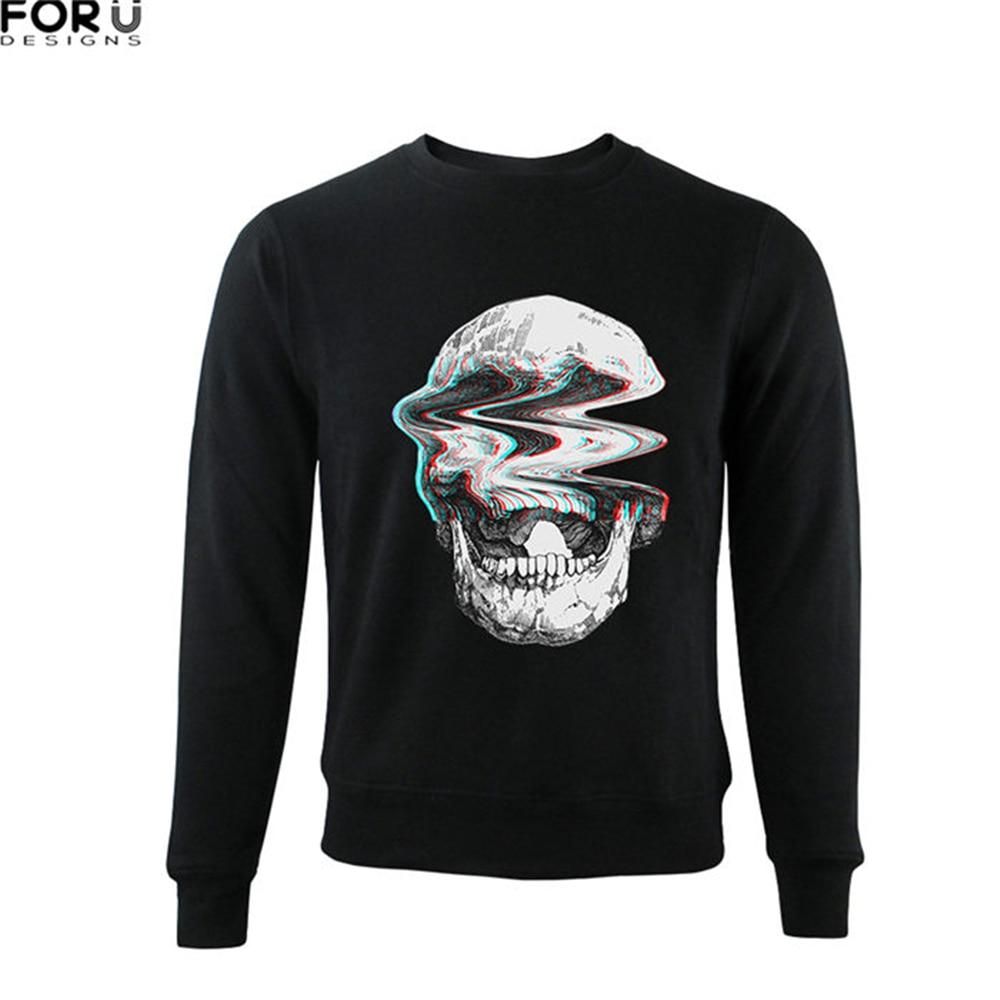 FORUDESIGNS Sweatshirt Mens Hoodie 3D Skull PrintMens Hoodies Pullovers Hoodie Man Casual Hoodie Tops Smock bitcoin Sweat XXL