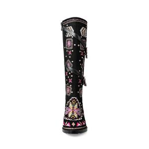 Image 4 - MORAZORA Cow suede leather boots women buckle botas snow boots zipper embroidery Cow Split sutumn knee high boots size 34 43