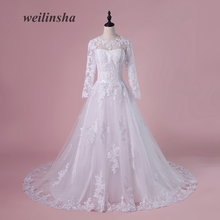 weilinsha Real Full Sleeve Wedding Dresses 2018 Sweep Train