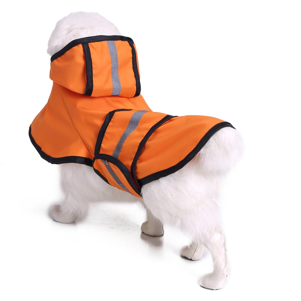 Lovely Large Dog Golden Retriever Raincoat Jacket Reflective Fleece Liner Warm Hood Drawstring Dog Raincoats Hogard MY1618