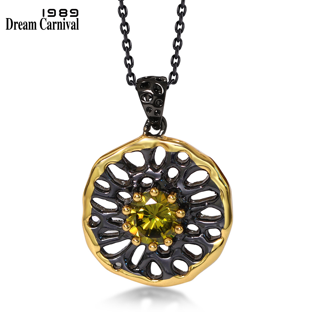 DreamCarnival1989 Neo-Gothic Pendant Necklace for Women Black Gun Color Olivine CZ Costumes Jewels Hollow Collana Collier WP6484(China)