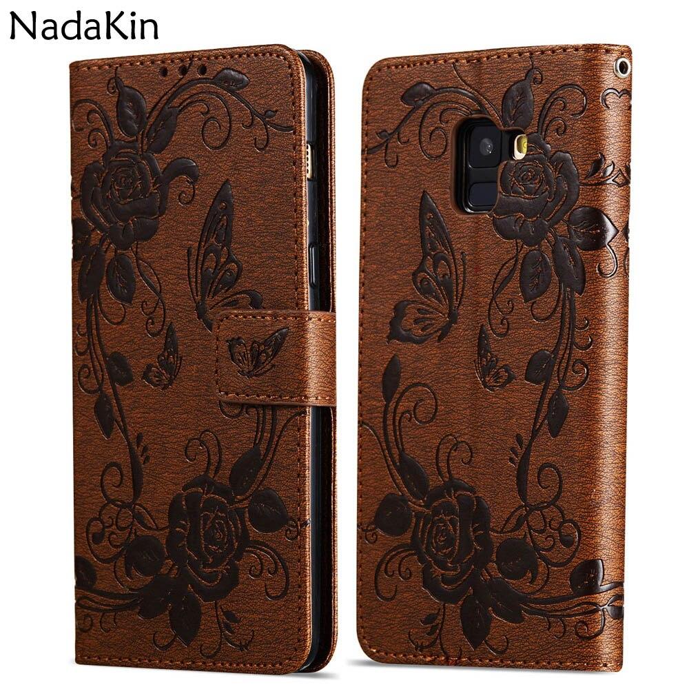 Papillon Fleur Livre étui pour samsung Galaxy A3 A5 J3 J5 J7 2016 2017 A8 S8 S9 Plus 2018 S6 S7 Bord Note 8 9 J2 Grand Prime