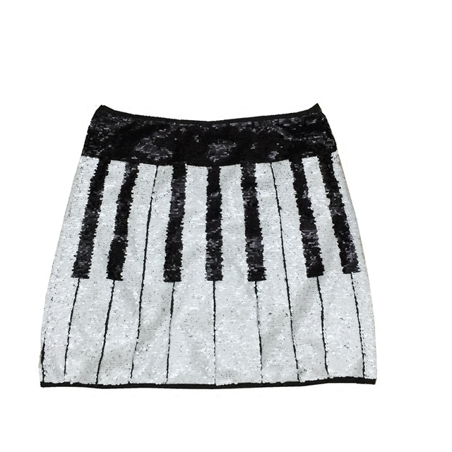 8306c4242e494 2018 Black White Striped Sequin Summer Women's Runway Designer Sexy Skirts  Clothing Short Mini Skirts Women Party Beach Vestidos