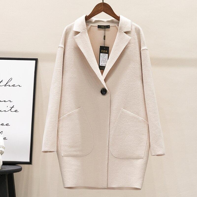 Nueva moda Otoño primavera capullo forma abrigo de lana las mujeres delgada botón abrigos prendas de abrigo chaqueta de lana Tops Mw425 - 5