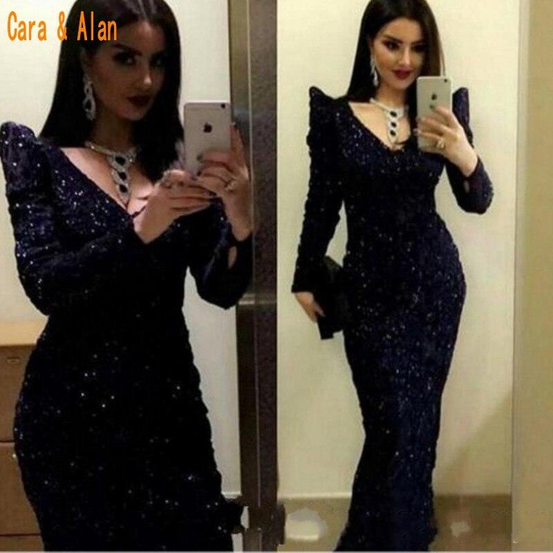 Modest V Neck Black Sequined Prom Dress 2019 Long Sleeves Mermaid Vestido De Festa V Neck Gowns Special Occasion Evening Dress