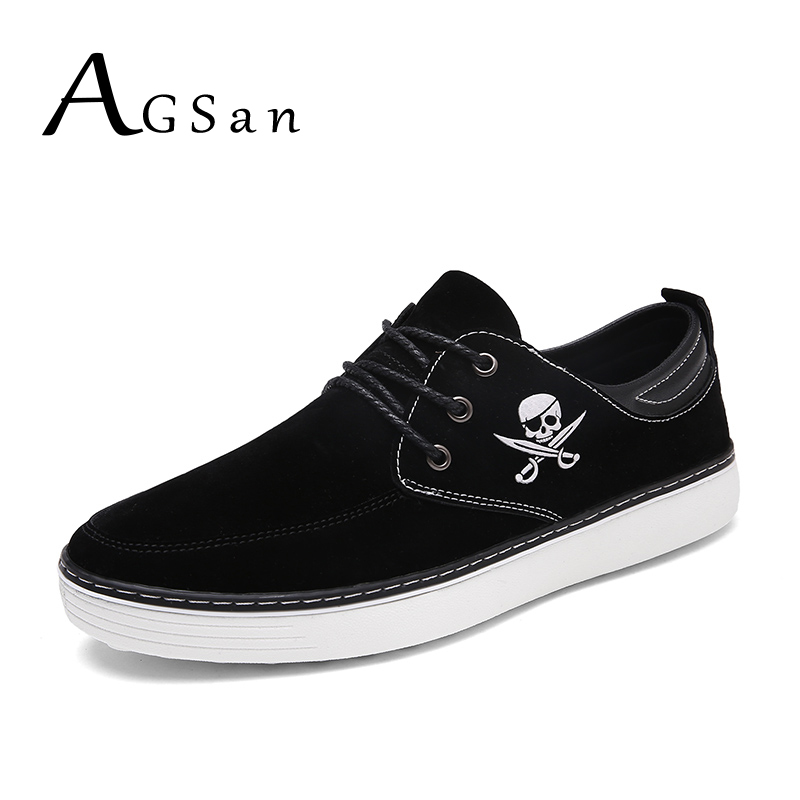 AGSan men autumn suede casual shoes lace up business shoes skull plus size 46 45 10 leather boat shoes black blue brown flats 2015 autumn winter men casual shoes fashion business suede men oxfords shoes lace up comfort casual men flats shoes