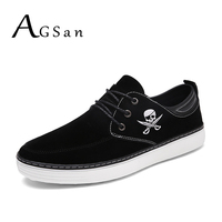AGSan Men Autumn Suede Casual Shoes Lace Up Business Shoes Skull Plus Size 46 45 10