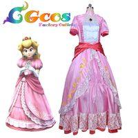 Gratis Verzending COS Cosplay Kostuum SUPER MARIO Super Mario Peach Halloween Kerst Uniform Game