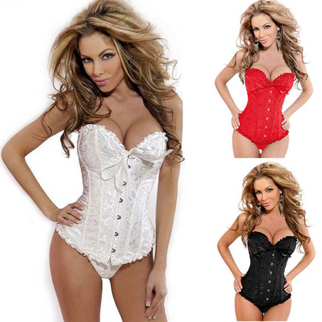 9ae56931f51 placeholder Sexy Corset Women Bone Black Lace Bustier Corset+G string Set  Lingerie Free Shipping Dropshipping