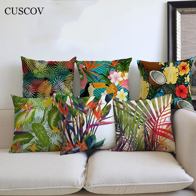 Hot rainforest animal picture linen pillowcase fashion home living room sofa cushion cover beautiful decorative seat pillow cove
