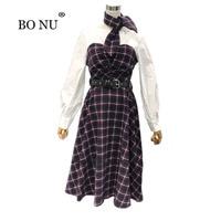 BONU Primavera Puff Manga Larga bufanda Vestido de Dama Elegante Un Vestidos de Tela Escocesa de la cintura Delgada Blusa de Las Mujeres Spliced Vestido de Señora de la Oficina vestido