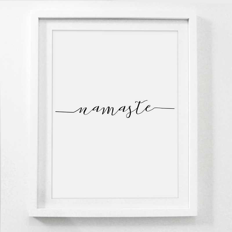Йога духовная Картина на холсте художественный плакат Настенный декор, Be Present/Namaste/Breathe каллиграфия Йога настенные художественные принты