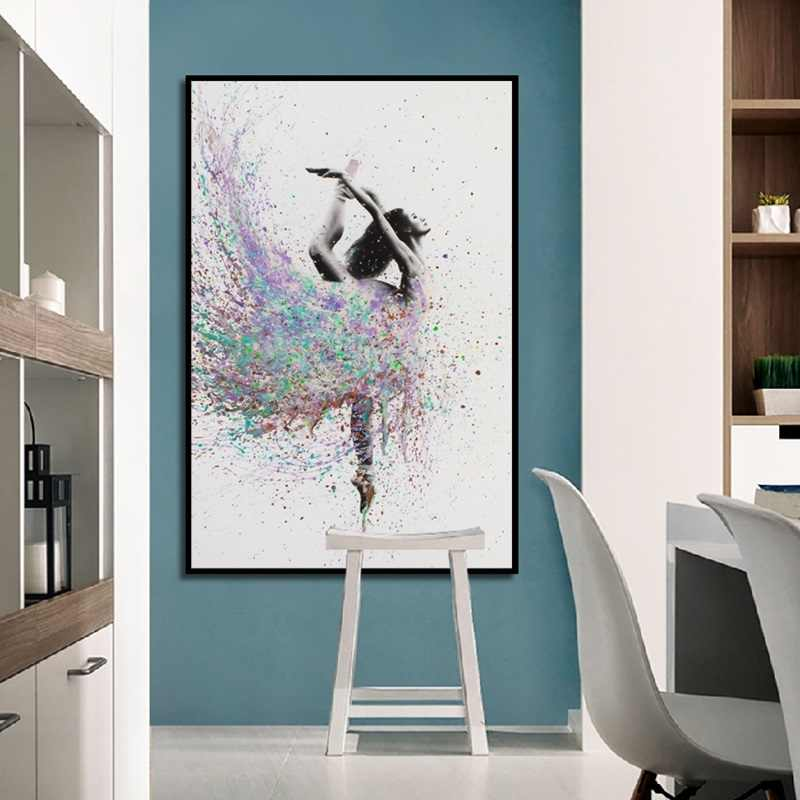 Modern Minimalist Abstract Oil Canvas Painting Ballerina Beauty Art Poster Nordic Decoration Wall Pictures for Girl's Room