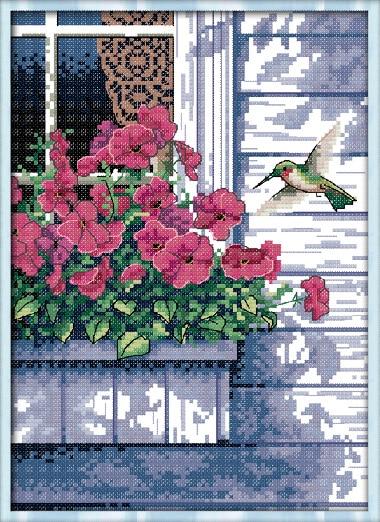 NeedleworkDIY DMC Cross StitchSets For Embroidery Kits Cottage Balcony Flower Bird