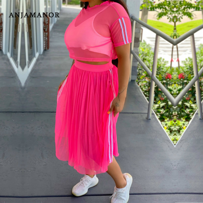 ANJAMANOR Striped Mesh Sexy 2 Piece Skirt Set Plus Size Women Two Piece Outfits Casual Matching Sets Neon Green Pink D41-AD35