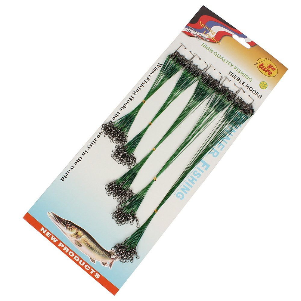 100 pcs Fishing Trace Lures Leader Steel Wire Spinner 16/18/22/24/28cm Green 17June14