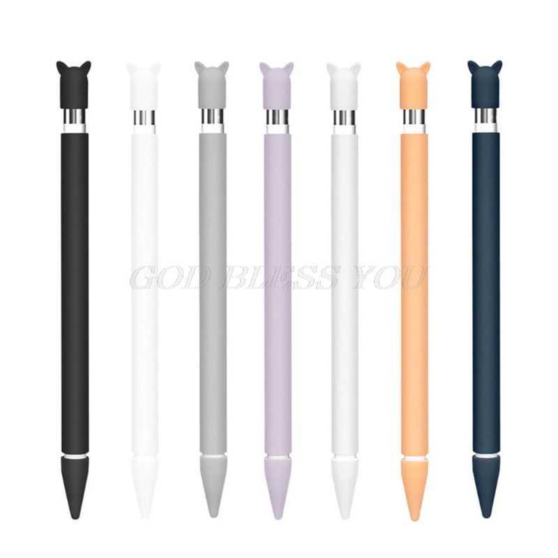 Funda protectora de silicona con Oreja de Gato, funda protectora con tapa de pluma, funda protectora para lápiz Apple y iPad