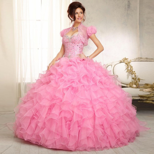 cd887ba521c2 2016 Rubydress Hot Sale Elegant Long Quinceanera Dresses Ball Gown Pink  Organza Bling Beaded Lace-