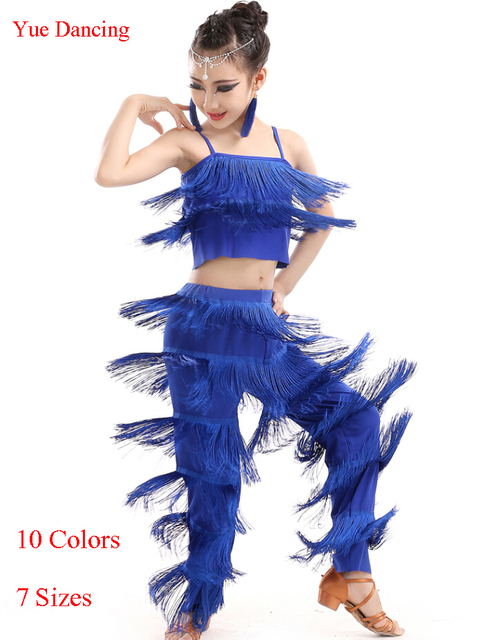ff413feed Tassel Latin Fringe Dance Costumes For Kids Latin Ballroom Competition Pants  & Tops Girls Cha Cha/Salsa/Samba/Rumba Dance Pant