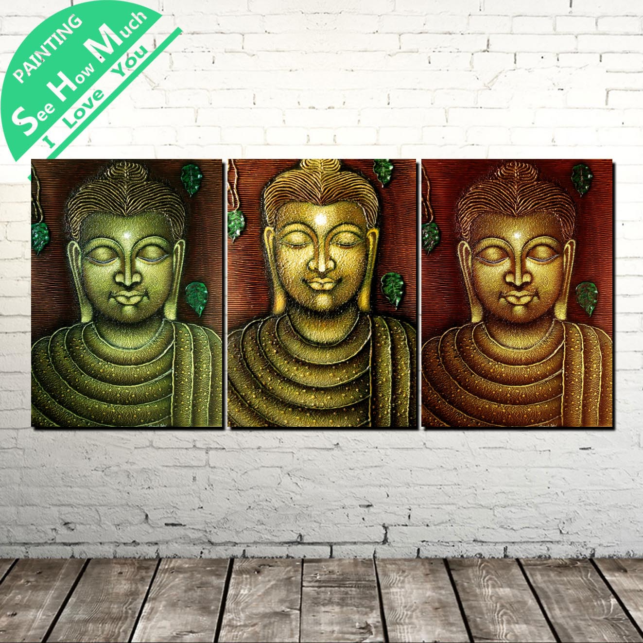 3 Piece Three Colors Buddha Modern Wall Art Canvas Painting Posters and Prints Framed Pictures for Decoration Home