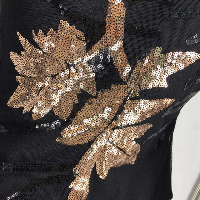 Long Sleeve Gold Leaves Patterns Sequins Fashion Outfit